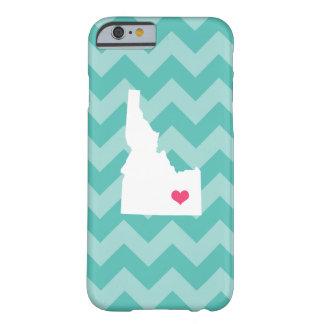 Personalized Modern Aqua Chevron Idaho Heart Barely There iPhone 6 Case