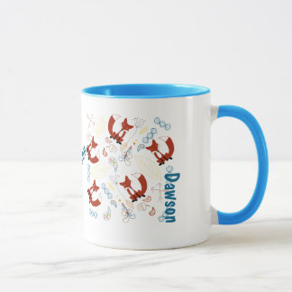 Personalized Modern Fox Woodland Pattern Mug