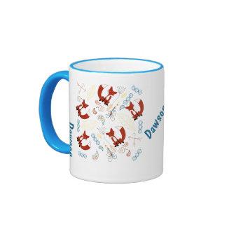 Personalized Modern Fox Woodland Pattern Ringer Mug