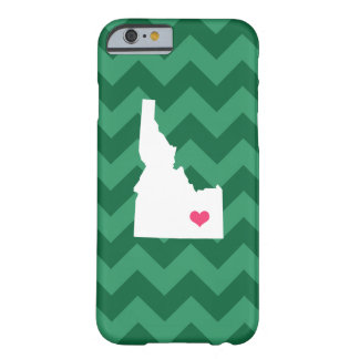 Personalized Modern Green Chevron Idaho Heart Barely There iPhone 6 Case