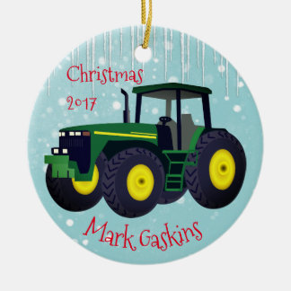 "Personalized Modern Green Tractor ""Christmas 20XX"" Christmas Ornament"