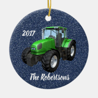 Personalized Modern Green Tractor on Blue Christmas Ornament