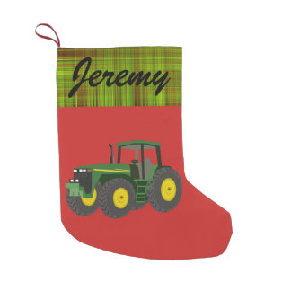 Personalized Modern Green Tractor Small Christmas Stocking