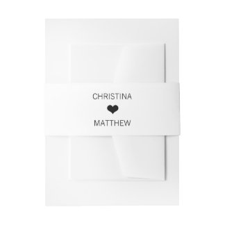 Personalized Modern HEART Black White Wedding Invitation Belly Band
