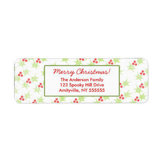 Personalized Modern Holly Return Address Label