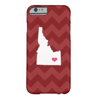 Personalized Modern Maroon Chevron Idaho Heart Barely There iPhone 6 Case