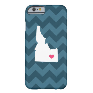 Personalized Modern Navy Blue Chevron Idaho Heart Barely There iPhone 6 Case