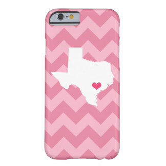 Personalized Modern Pink Chevron Texas Heart Barely There iPhone 6 Case