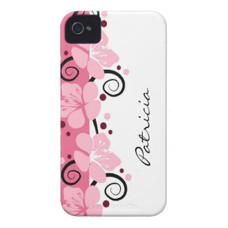 Personalized Modern Pink Flowers iPhone 4 Case-Mate Case