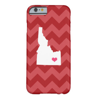 Personalized Modern Red Chevron Idaho Heart Barely There iPhone 6 Case
