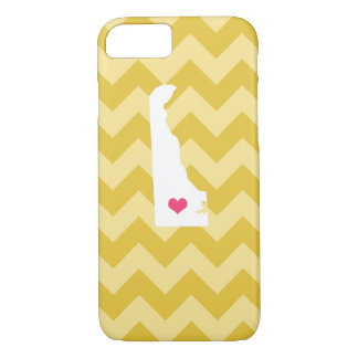 Personalized Modern Yellow Chevron Delaware Heart iPhone 7 Case