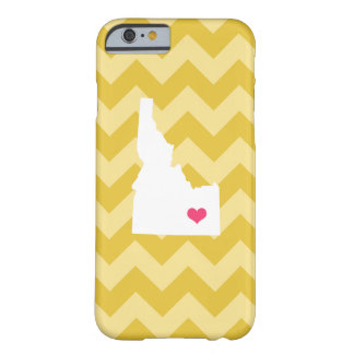 Personalized Modern Yellow Chevron Idaho Heart Barely There iPhone 6 Case