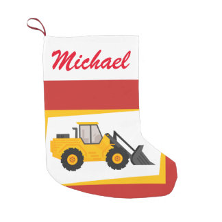Personalized Modern Yellow Loader Tractor on Red