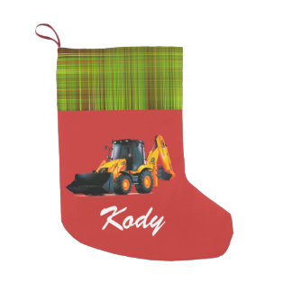 Personalized Modern Yellow Loader Tractor on Red Small Christmas Stocking