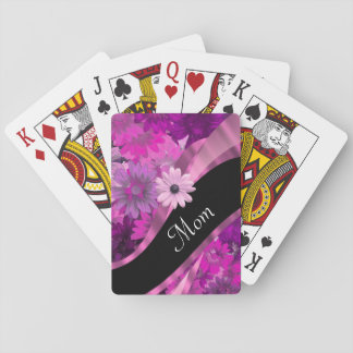 Personalized mom pink floral poker deck