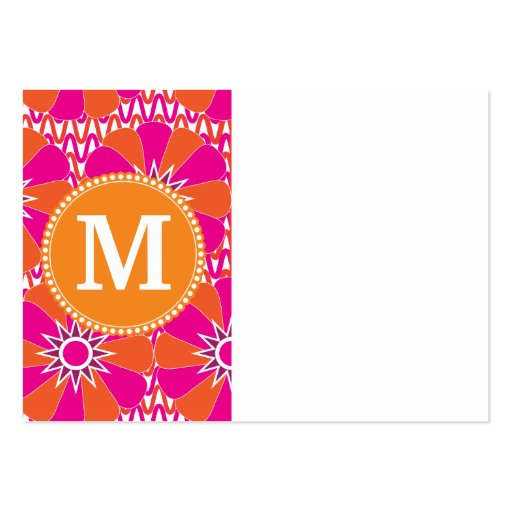 Personalized Mongram Pink Orange Floral Pattern Business Cards