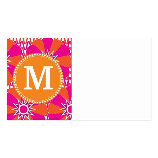 Personalized Mongram Pink Orange Floral Pattern Business Card Templates