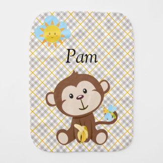 Personalized Monkey Burp Cloth