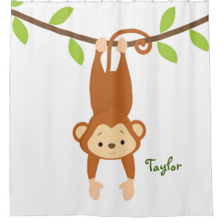 Personalized Monkey, Kid's Shower Curtain