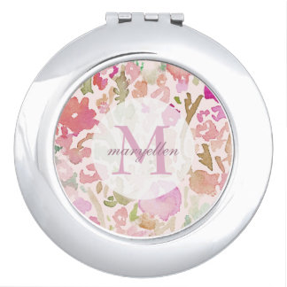 Personalized Monogram Abstract Floral Compact Travel Mirror