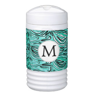 Personalized Monogram aqua Zebra Stripes Drinks Cooler