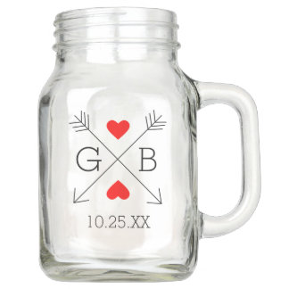 Personalized Monogram Arrows and Hearts Wedding Mason Jar