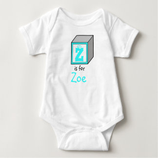 Personalized Monogram Baby Alphabet Block Baby Bodysuit