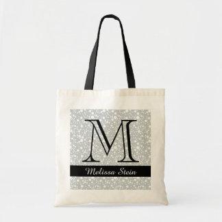 personalized monogram black budget tote bag