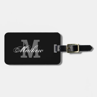 Personalized monogram black travel luggage tag