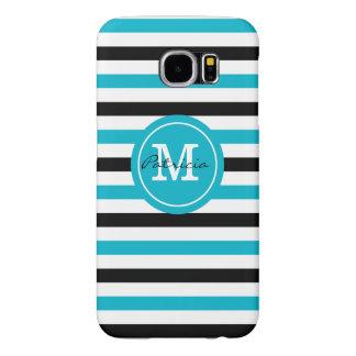 Personalized Monogram Blue Black White Stripes Samsung Galaxy S6 Cases
