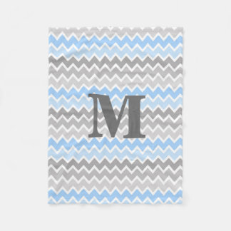Personalized Monogram Blue Grey Gray Ombre Chevron Fleece Blanket