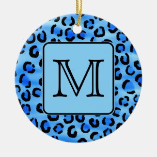 Personalized Monogram, Blue Leopard Print Pattern. Christmas Ornament