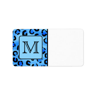 Personalized Monogram, Blue Leopard Print Pattern. Label