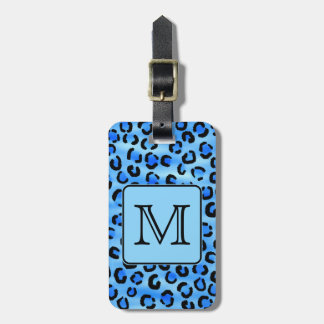 Personalized Monogram, Blue Leopard Print Pattern. Luggage Tag