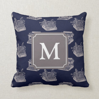 Personalized Monogram Blue Vintage Typewriter Cushion