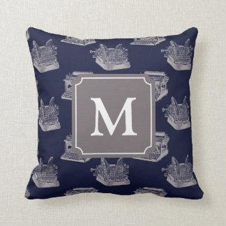 Personalized Monogram Blue Vintage Typewriter Throw Pillow