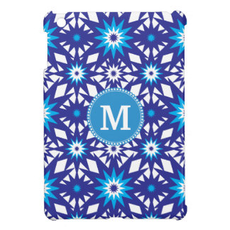 Personalized Monogram Bold Blue Teal Star Pattern iPad Mini Case
