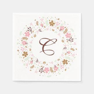 Personalized Monogram Bridal Shower Floral Wreath Disposable Serviettes