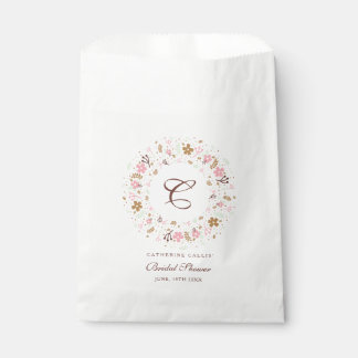 Personalized Monogram Bridal Shower Floral Wreath Favour Bags