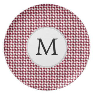 Personalized Monogram Burgundy Houndstooth Pattern Plate