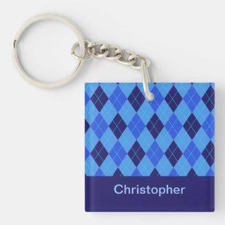 Personalized monogram C boys name blue argyle Double-Sided Square Acrylic Key Ring