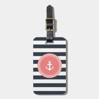 Personalized Monogram Coral and Navy Nautical Luggage Tag