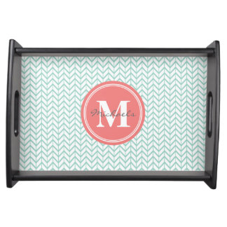 Personalized Monogram Coral & Seafoam Geometric Serving Tray