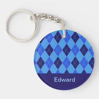Personalized monogram E boys name blue argyle Double-Sided Round Acrylic Key Ring