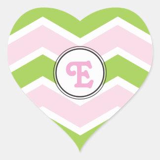 Personalized Monogram E Green Pink Chevron Heart Sticker