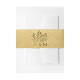 Personalized Monogram Faux Gold Leaf Wedding Invitation Belly Band