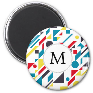 Personalized Monogram Fun Red Blue Geometric patte 6 Cm Round Magnet