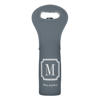 Personalized monogram gift wine bottle tote bag