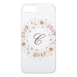 Personalized Monogram Girly Floral Wreath iPhone 8/7 Case