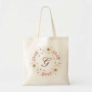 Personalized Monogram Girly Floral Wreath Tote Bag